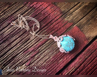 Rose Gold Turquoise Wire Wrapped Pendant Necklace Bohemian Necklace Boho Jewelry
