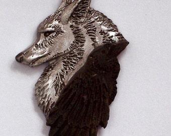 Ravenwolf.....Hand Carved in Fine Pewter Black Raven