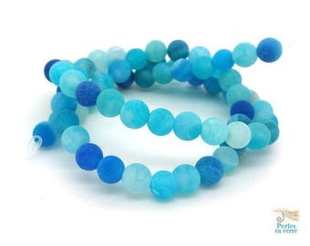 62 agate beads frosted turquoise blue 6mm frosted cracked (pg194)
