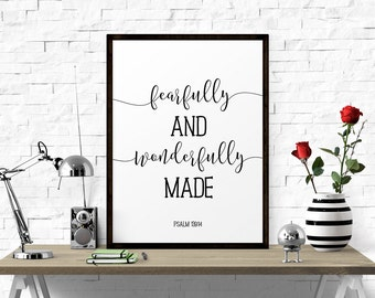 Inspirational Poster, Fearfully And Wonderfully Made - Psalm 139:14, Christian Print, Nursery Decor, Printable Wall Art, Scandinavian