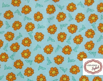 flannel, orange flower, blue, 100cm X 110 cm, stroller blanket, blanket child