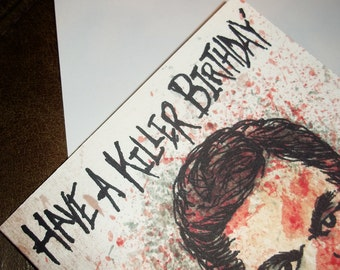 Dexter TV Killer Horror Blank Birthday Card 5x7 By Agorables Lords of the Undead -- Master of the Serial Killer