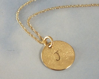 Initial Necklace, Initials 14k Solid Gold Initial Necklace, Gold Initial Necklace, 14k Solid Gold Necklace, Initial Disc 11mm Solid Gold