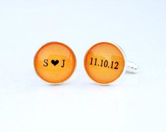 Personalized Cufflinks Orange Wedding Cuff links Custom Color Initials heart Date - Groom Cuff links Custom Color