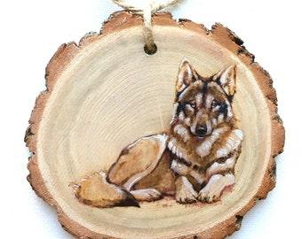 Wolf / Husky Wood Tree Slice Wall Art