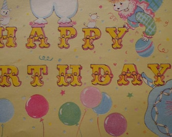 Vintage Gift Wrap 1970s Wrapping Paper--Happy Birthday from Pastel Clowns--1 Sheet