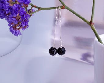 Black Onyx faceted round beads Earrings, 925 Sterling Silver wire Hook