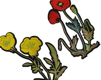 Embroidered Red and Yellow Poppy Flowers Patches, Mix Flowers Patches Appliques, Poppy Flower Patch 2 pcs
