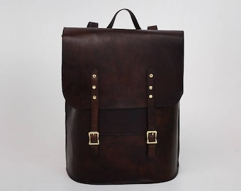 Brown  leather backpack, leather laptop bag, 15 inch leather backpack, travel backpack, leather backpack, simple backpack, gift for her bag