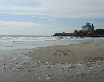Custom Beach Print, Couples Names Date Message Written in the Sand,  Keepsake Art, Couples Print, Personalized Beach Art, Sand Writing Print