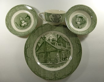 Vintage 4 Piece Place Setting the Old Curiosity Shop Oven Proof Dinnerware NOS