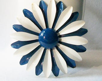 Large Vintage Blue and White Enamel Flower Brooch, Large 1960 Vintage Flower Pin