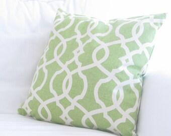decorative pillows, 18x18 green decorative pillows, green trellis pillows, spring pillow covers, pillow cover for couch, green pillow covers