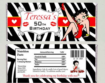 Betty Boop Personalized Candy Bar Wrapper 1.55 oz Digital File or Printed