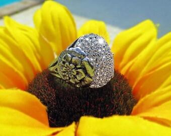 Crystal Clear Swarovski Crystal Flower Ring, Sterling Silver Swarovski Crystal Flower Split Shank Ring