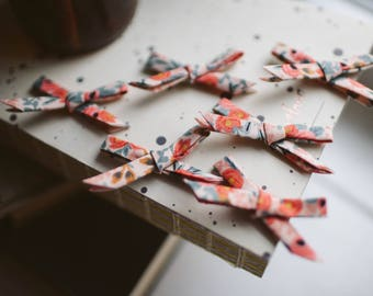 Bows For Crafts! 5 Rifle Paper Co Fabric Bows in Les Fleurs Rosa Peach Floral Print