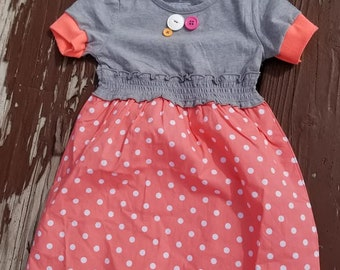 gray and pink/orange 4T dress one of a kind, up-cycled/refinished by I am a happy girl