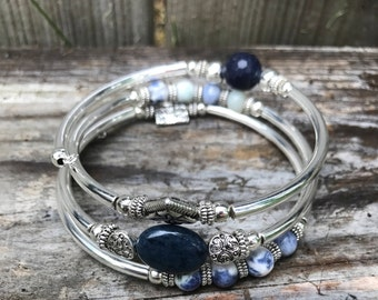 NAVY BLUE LAPIS and Silver Wire Wrap Bracelet