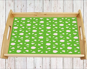 Designer tray, serving tray, breakfast tray, dinner tray, tray with handles, wooden tray, abstract, abstract tray,  green, pink tray, eco