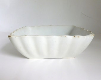 """Antique 1800's J & G Meakin Hanley England 8.5"""" Square Scalloped Ironstone Pottery Serving Bowl"""