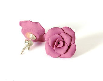 Purple Magenta Rose Earrings, Sterling Silver, Posts, Handformed Clay Roses, Flower, Floral, Gift under 30