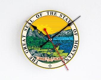 Montana State Wall Clock Orange Blue Wall Decor Home Decor USA States Rare Gift Handmade Clock Gift for Hostess Houseware