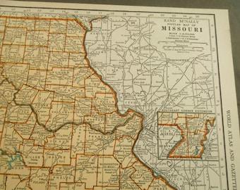 Missouri Map, Montana, 1938 Vintage US State Map, wall art, decor, old maps