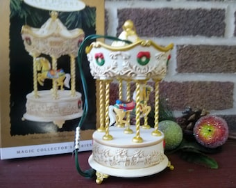 1995 Magic Holiday Carousel Hallmark Ornament with Santa's little big top free