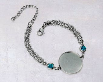1 x Stainless Steel 20mm Cabochon Bracelet Blank Bezel Setting with Teal Rhinestones