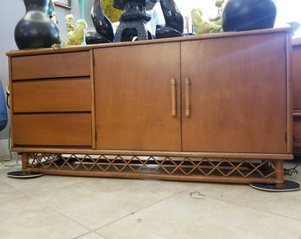 Vintage Credenza or Buffet with Bamboo Detailing Double Sided Mid Century 1950's