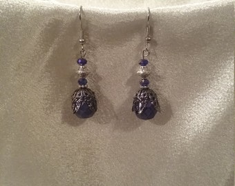 Deep blue chandelier earrings