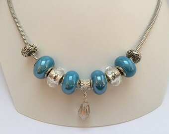 Blue charm's Necklace with drop Crystal ref 801