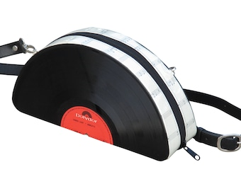 retro vinyl record crossbody bag - music lover gift - vintage gift ideas - nostalgic gifts for women - eco bag - recycled gifts for her