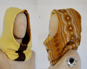 Hooded  cowl vintage yellow, hooded scarf, cotton, recycle design, scoodie, flower, retro, big hood, eco friendly, Solmode