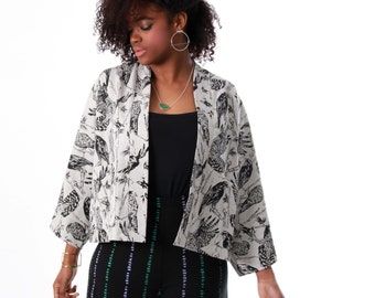 Kimono Jacket - Hemp Kimono - Black on Moonrock Birds of Prey - Recycled Hemp  - Organic Cotton - Jacket with Pockets - Thiefandbandt®