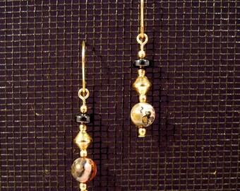 Gold-filled Leopardskin Jasper and Hematite Dangle Earrings