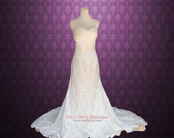 Vintage Lace Overlay Wedding Dress | Lace Wedding Dress | Vintage Wedding Dress | Strapless Wedding Dress | Princess Wedding Dress