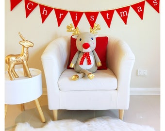 Merry Christmas Red and gold Bunting Banner Flags Decoration