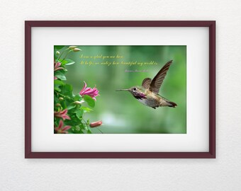 Mother's Day gift Printable, Home decoration, Inspirational wall art Print, DIGITAL DOWNLOAD, quote, Nature photography, Hummingbird picture