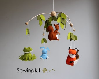 baby mobile, woodland mobile, forest animal mobile, wool felt mobile, forest creatures mobile, diy mobile, frog, bunny, squirrel, fox, bear,