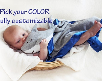 Great White Shark Security Blanket, baby blanket Lovey Blanket, Satin, Baby Blanket, Stuffed Animal, Baby Toy Customize add Monogramming