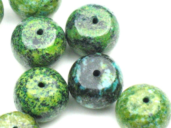 Chunky Turquoise Beads: Bluish, Lime Green Real African Turquoise Rondelles, Emerald Green Beads, Jewelry Making Supplies