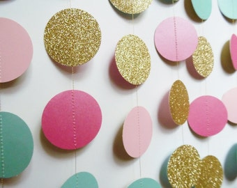 Gold Circle Garland, Light Pink, Hot Pink and Light Turquoise Party Decoration, Bridal Shower Decor, Teen Girl Decor