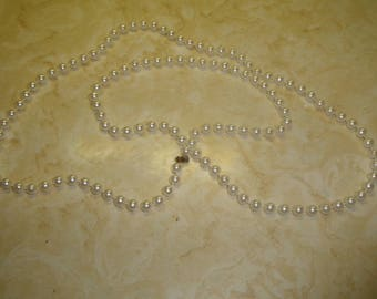 vintage necklace long faux white pearls