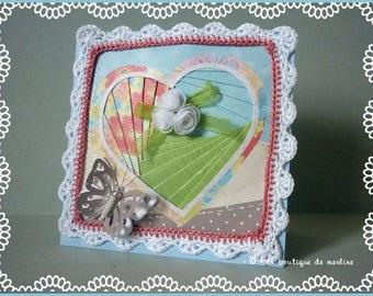 All occasion card: iris folding, box, flowers and butterflies heart