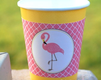 Flamingo Tickled Pink Cup Sleeve Wrapper   Printable   Instant Download   Birthday   Baby Shower   Tropical