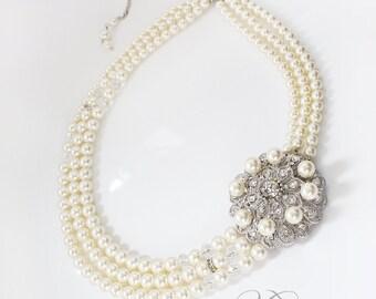 Wedding Jewelry Triple strands Swarovski Pearl Necklace Rhinestone Flower Necklace Bridal Necklace Bridal Jewelry Bridesmaids Necklace- WINN