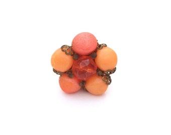 Mid-Century modern orange cocktail ring