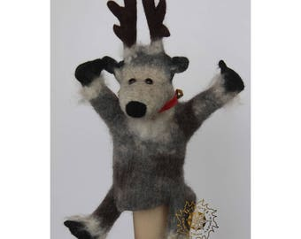 Felted reindeer,Christmas deer,Hand puppet,Toy on hand,Puppet theatre,Bibabo,Marionette,Reindeer saying,Reindeer necklace,Log reindeer