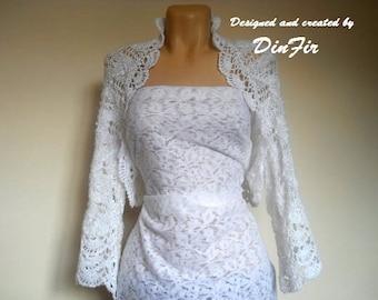 LIQUIDATION Stock 30% OFF Oversized Cotton Shrug Bolero Wedding Bridal Accessories Hand Knitted White Crochet Jacket Cardigan Women Capelet